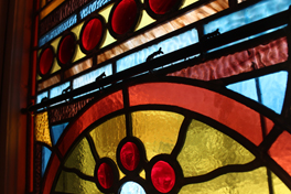 worship: stained glass in the sanctuary
